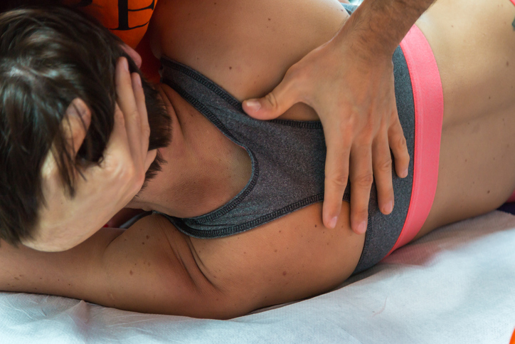 person receiving sports massage