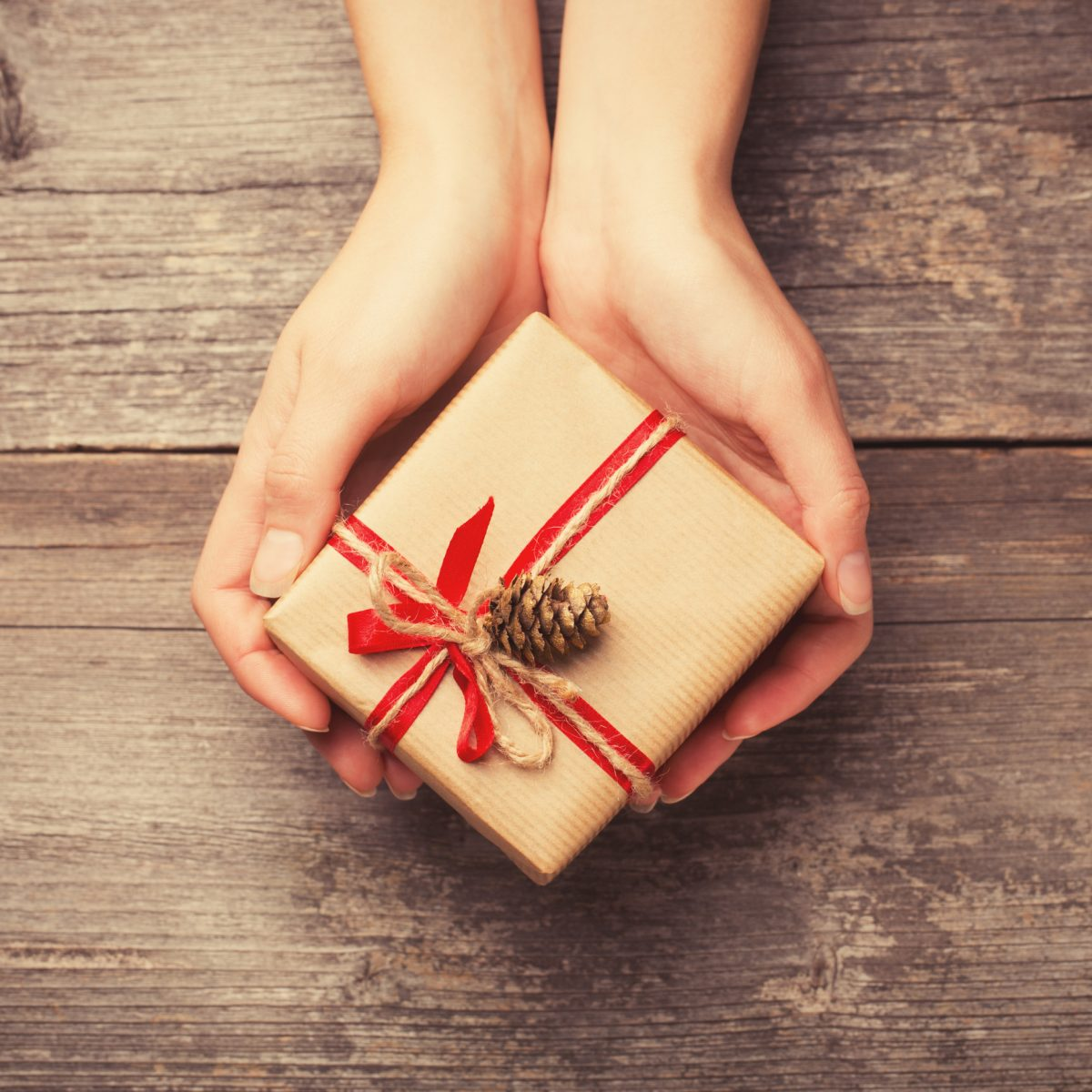 Hands holding small wrapped gift