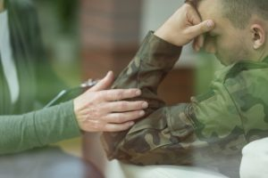 Military veteran talking to therapist