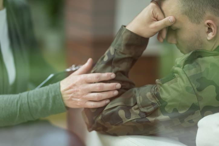 Military veteran talking to therapist